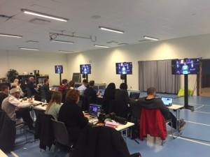 Pressrummet i Halmstad arena var generöst tilltaget.