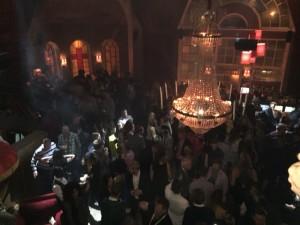 """Efterfesten var på """"Boom boom room"""" i Halmstad som har varit en kyrka."""