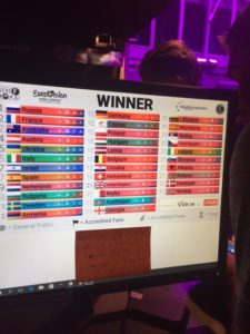I natt på Euroclub visade skärmarna att Ryssland tar hem det. Detta var presskår, ackrediterade fans och allmän publik eniga om. Vi får se, Zero är inte lika säkra på detta.