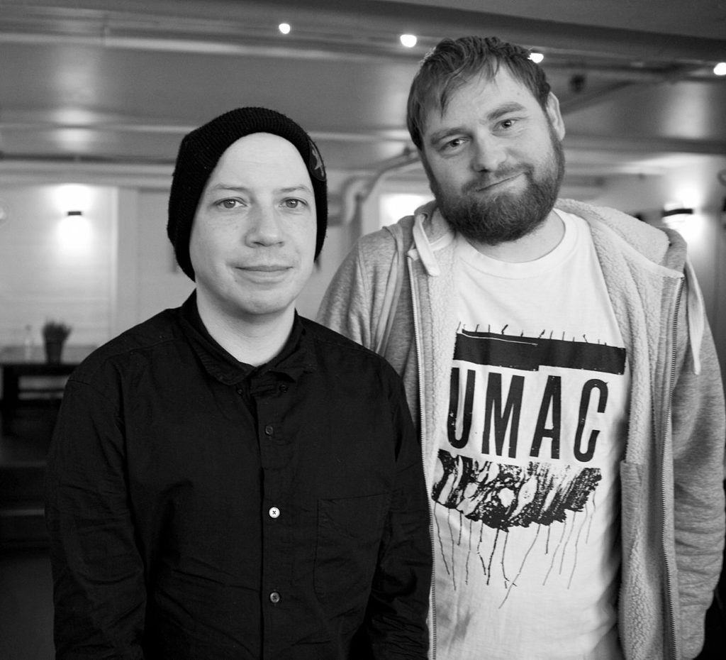 Stuart Braithwaite från Mogwai med Zeros Martin Sernestrand i Köpenhamn 2017. Foto: Petra Rönnholm.
